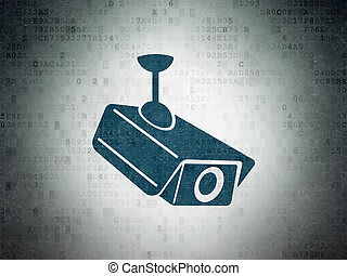 Security concept: Cctv Camera on Digital Data Paper background