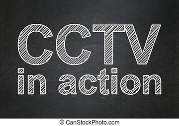 Security concept: CCTV In action on chalkboard background