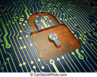 Security concept: circuit board with closed padlock icon