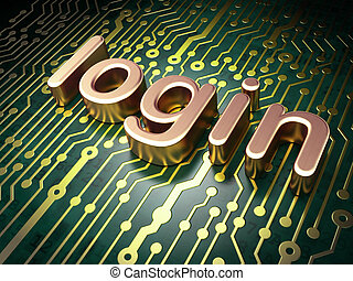 Security concept: circuit board with word login