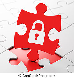 Security concept: Closed Padlock on puzzle background