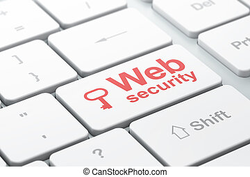 Security concept: computer keyboard with Key icon and word Web Security, selected focus on enter button, 3d render