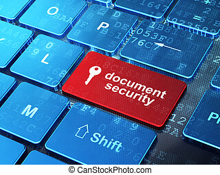 Security concept: computer keyboard with Key icon and word Document Security on enter button background, 3d render