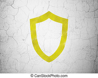 Security concept: Contoured Shield on wall background