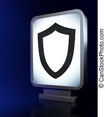 Security concept: Contoured Shield on billboard background