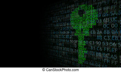 Security concept: digital key on a background of binary code