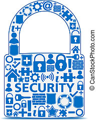 Security Concept - Abstract lock made of security icons,...