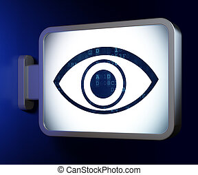 Security concept: Eye on billboard background