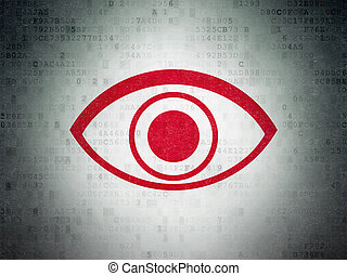 Security concept: Eye on Digital Data Paper background