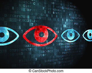 Security concept: Eye on digital background