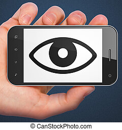 Security concept: Eye on smartphone - Security concept: hand...