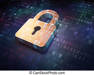 Security concept: Golden closed padlock on digital background