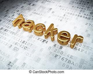 Security concept: Golden Hacker on digital background, 3d...