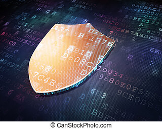 Security concept: Golden Shield on digital background