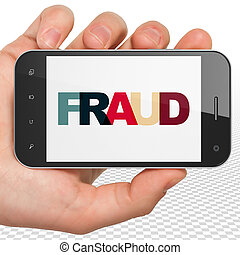 Security concept: Hand Holding Smartphone with Fraud on display