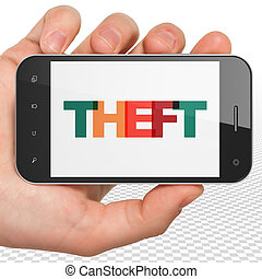 Security concept: Hand Holding Smartphone with Theft on display