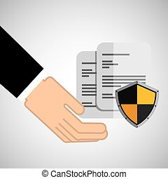 security concept hand with document