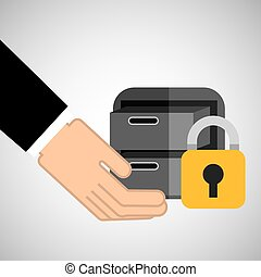 security concept hand with files
