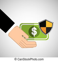 security concept hand with money