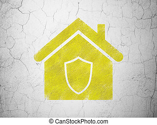 Security concept: Home on wall background