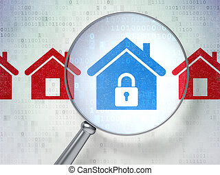Security concept: Home with optical glass on digital background