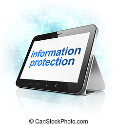 Security concept: Information Protection on tablet pc computer