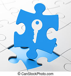 Security concept: Key on puzzle background