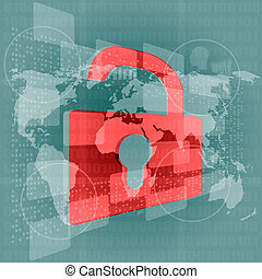 Security concept: Lock on digital screen, contrast