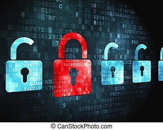 Security concept: Locks on digital background