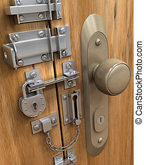 Security Concept - Many lock in only one door.