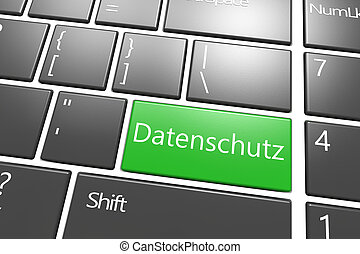 Security Concept: modern keyboard with a green Datenschutz key - the german word for data protection