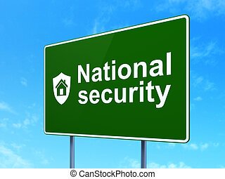 Security concept: National Security and Shield on road sign background