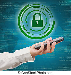 Security concept of mobile network. Modern mobile phone in a  business hand.