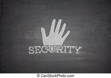 Security concept on blackboard