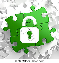 Security Concept on Green Puzzle Pieces.