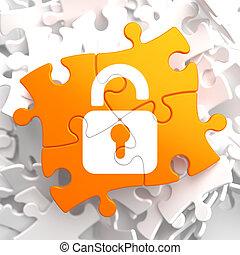 Security Concept on Orange Puzzle.