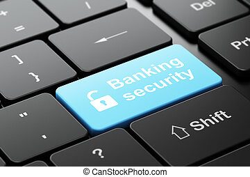 Security concept: Opened Padlock and Banking Security on computer keyboard background