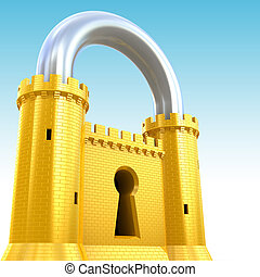 Security concept. Padlock as fortress.