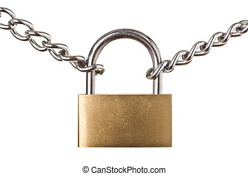 Security concept - padlock on chain isolated