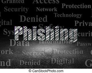 Security concept: Phishing in grunge dark room