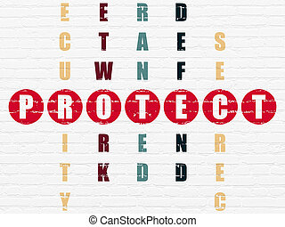 Security concept: Protect in Crossword Puzzle