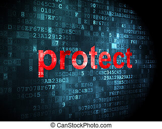 Security concept: protect on digital background