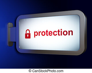 Security concept: Protection and Closed Padlock on billboard background