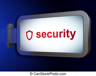 Security concept: Security and Contoured Shield on billboard background