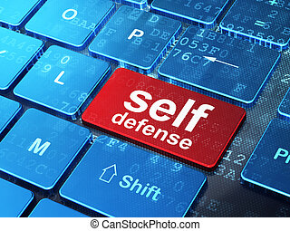 Security concept: Self Defense on computer keyboard ...