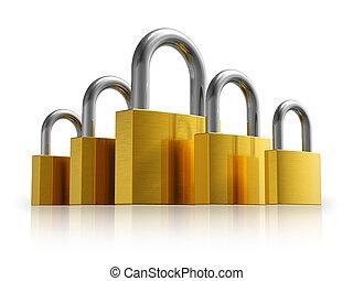 Security concept: set of metal padlocks