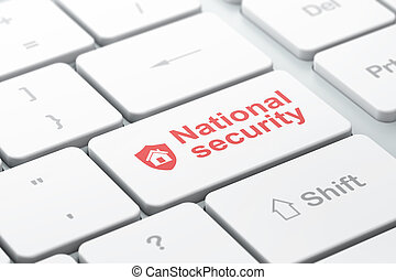 Security concept: Shield and National Security on computer keyboard background