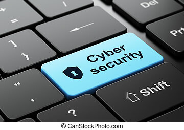 Security concept: Shield Keyhole Cyber Security on keyboard...