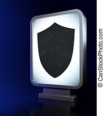 Security concept: Shield on billboard background