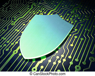 Security concept: Shield on circuit board background -...